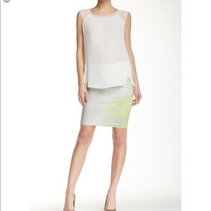 NWT Tahari Wesley neon green and taupe skirt